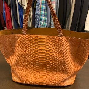 Nada Sawaya NYC Orange Python Tote
